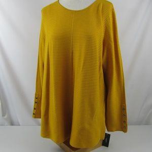 Alfani Mustard Marigold Ribbed Knit Tunic Top 2X